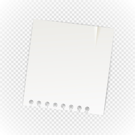 realictic: Old paper sheet isolated on transparent background