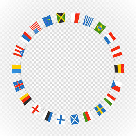 Color flags of differemt countries on transparent background. Vector circle composition