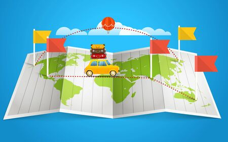 world flag: World map with red flag and vehicle. Design elements