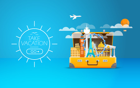 tours: Travel bag vector illustration. Vacation design template. Take vacation