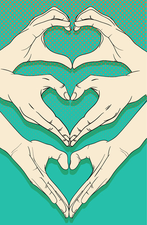 human hands: Human hands with heart sign set Illustration