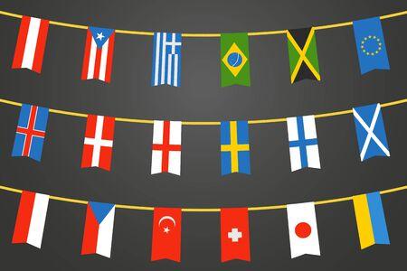 billets euro: Différents drapeaux de couleurs des pays sur la corde. Vector clip-art