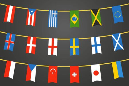 rope vector: Different color flags of countries on rope. Vector clip-art