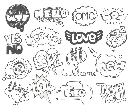 draw: Different sketch style words collection. Vector doodles set