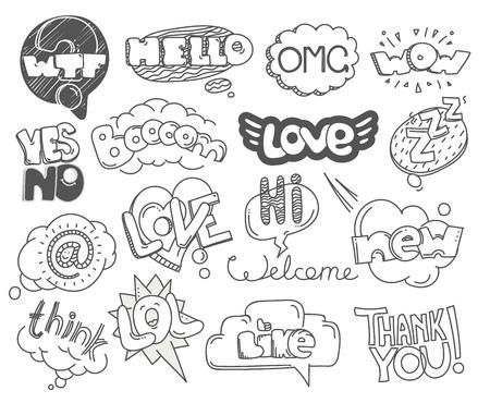 zeichnen: Verschiedene Skizzeart Wörter Sammlung. Vektor-Doodles gesetzt