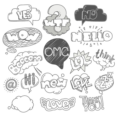 wtf: Different sketch style words collection. Vector doodles set
