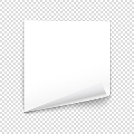 bended: Bended paper sheet isolated on transparent background. Vector illustration
