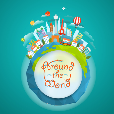 world travel: Famous signts around the world. Travel concept vector illustration. Around the  world
