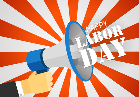 The celebration of The Labor Day. Vector greeting card illustration. Loud voice of the speaker vector illustration
