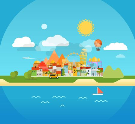 seaside: Summer seaside vacation illustration