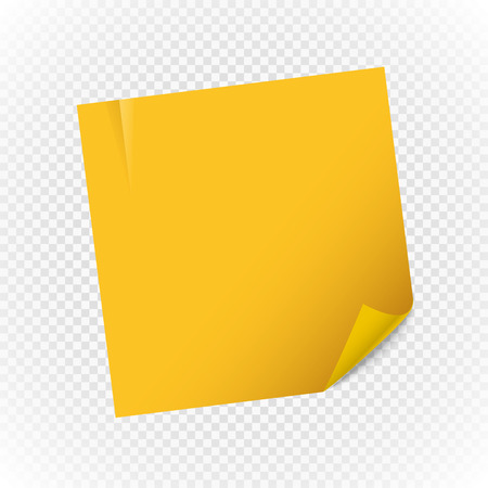 realictic: Yellow paper note sheet isolated on transparent background