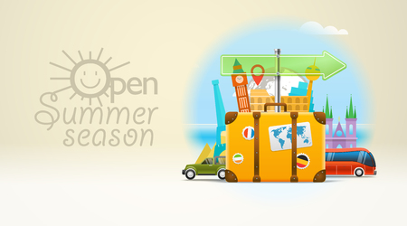 bagagli: Vacation travelling concept. Vector travel illustration with the bag. Open summer season