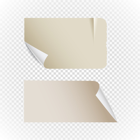 realictic: Collectionn of vintage paper isolated on transparent background Illustration