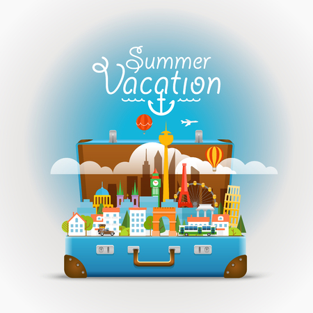 Dirrefent world famous sights. Summer vacation. Modern cityscape Vector  travel illustration. Vacation design concept