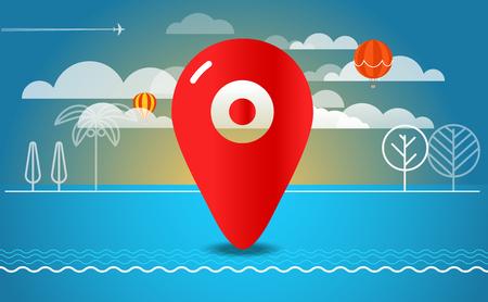 seacoast: Travel vector illustration. Travel destination concept Illustration