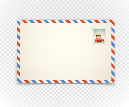 airmail stamp: Vintage postcard on transparent background. Template for a content