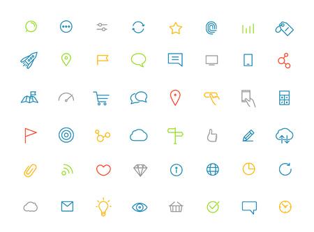 web moderne et application mobile pictogrammes de couleur collection. Lineart intercece icons set
