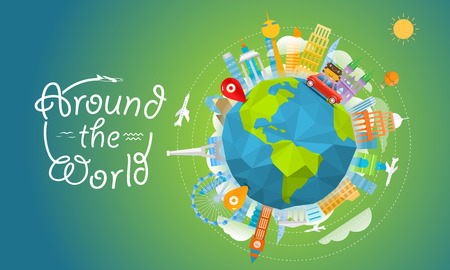 Vacation travelling concept with pins. Vector travel illustration with the bag. Around the world
