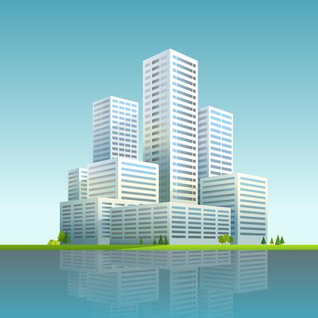 residental: Modern cityscape vector illustration. Business city skyscrapers Illustration