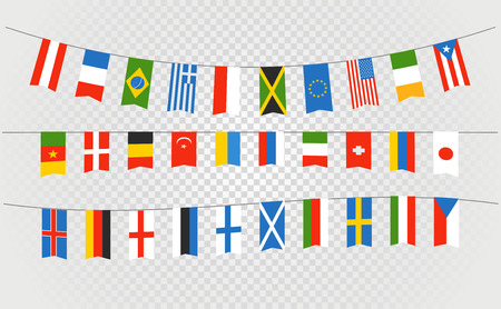 Color flags of differemt countries on transparent background