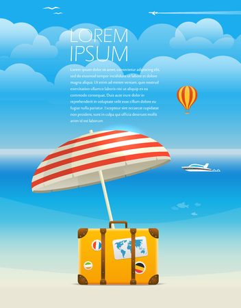 oasis: Summer seaside vacation illustration. Template for a text Illustration