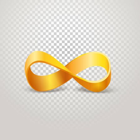 limitless: Infinity golden sign on transparent background