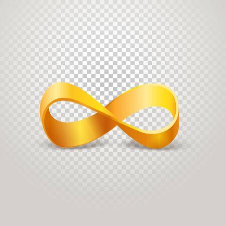 Infinity golden sign on transparent background