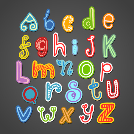 abstract doodle: Abstract hand-drawn color doodle alphabet. Vector design elements