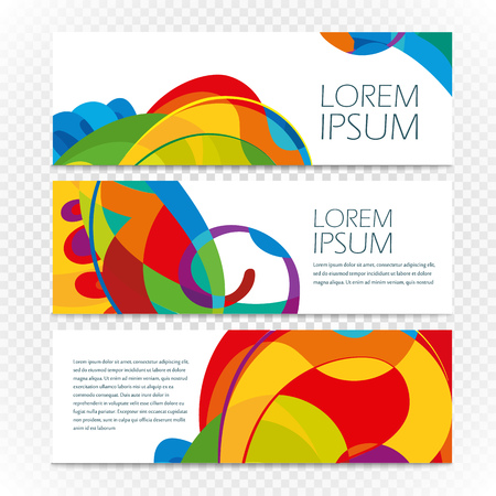 Abstract colorful banners set on transparent. Modern design template for a text Illustration