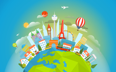 tours: Famous signts around the world. Travel concept vector illustration. Around the  world tour