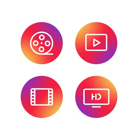 application icons: Different simple web pictograms collection. Lineart video, application icons