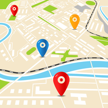 road position: Abstract city map with color pins. Flat design illustration