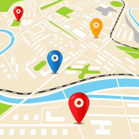 mapa de la ciudad abstracta con alfileres de colores. ilustración diseño plano