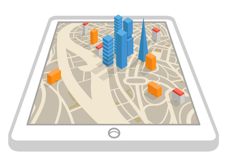 adress: Modern gadget with abstract city map