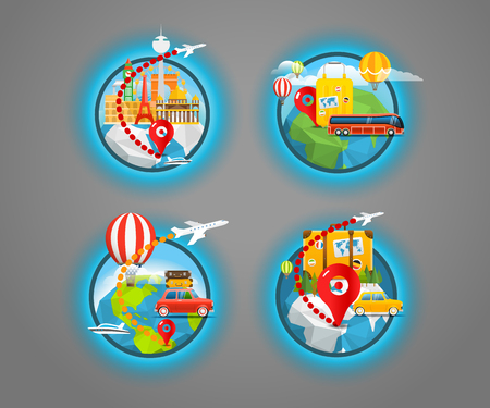 discovery: Vacation travelling icons collection. Vector travel illustration. Travel around the world
