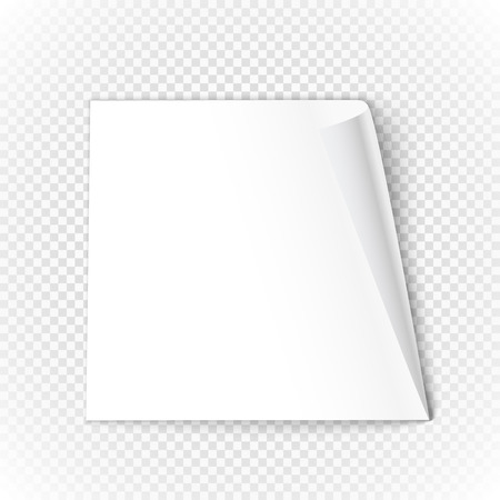opacity: Bended paper sheet isolated on transparent background. Vector illustration