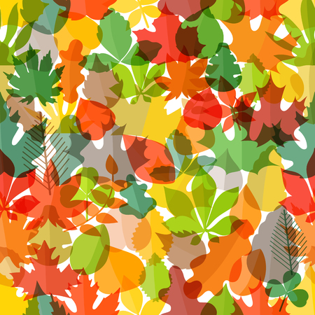 Different color autumn leaves seamless pattern