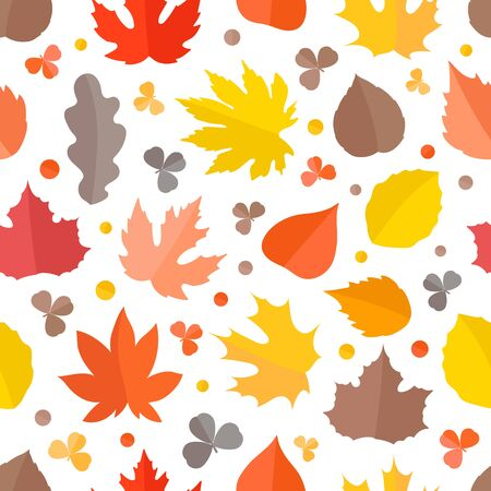 abstract seamless: Autumn seamless vector pattern. Fall leaves collection Illustration
