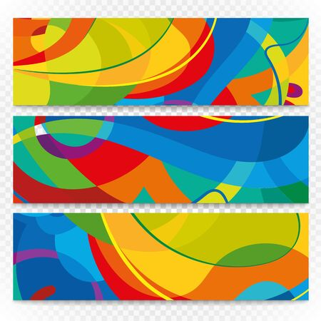 Abstract colorful banners on transparent. Modern design template Illustration
