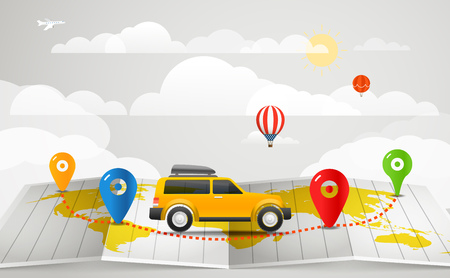 map case: Travel vector illustration. Vacation concept with the car Illustration