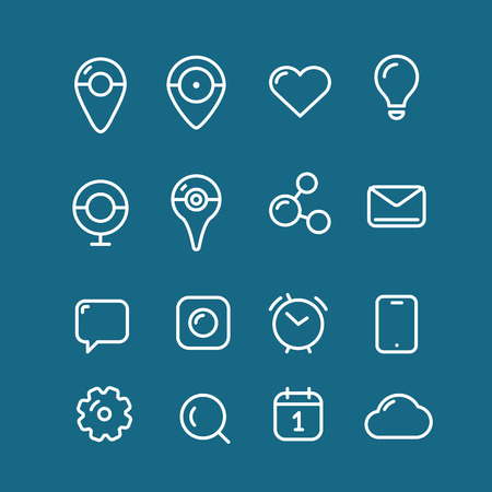 calandar: Different simple web pictograms collection. Lineart design application icons