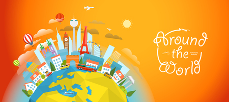 signts famosos de todo el mundo. el concepto de viaje ilustración vectorial. Alrededor del concepto del mundo