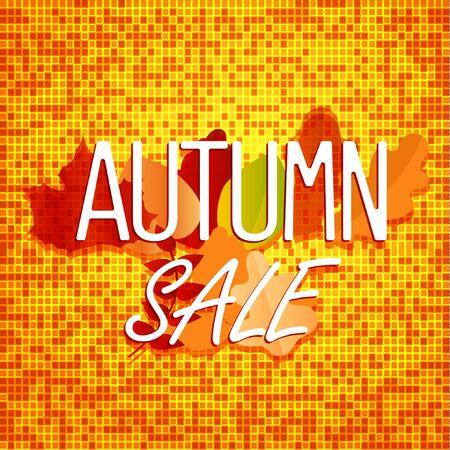 autumn color: Autumn sale concept. Color illustration of autumn leaves