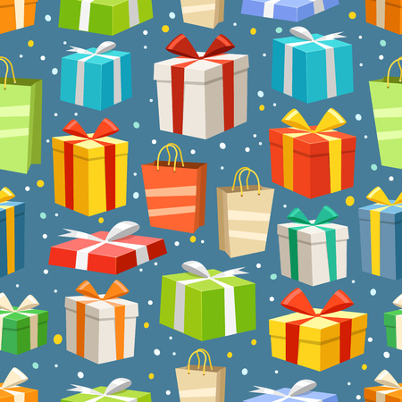transportaion: Different color gift boxes seamless pattern. Vector design elements