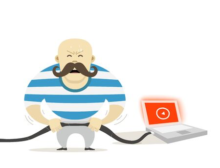 strong men: Strong man with modern laptop. Vector illustration Illustration