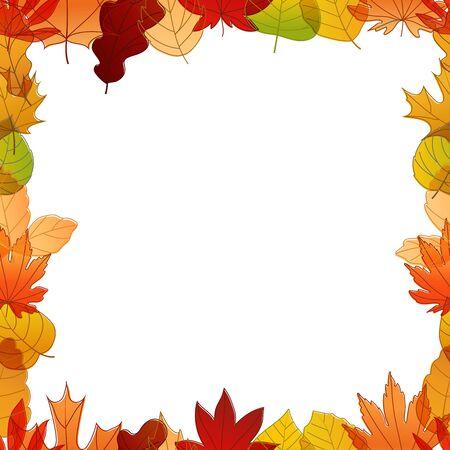 autumn color: Different color autumn leaves vector frame