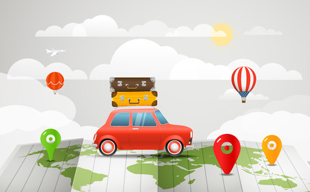 map case: Travel vector illustration. Vacation concept with the red car