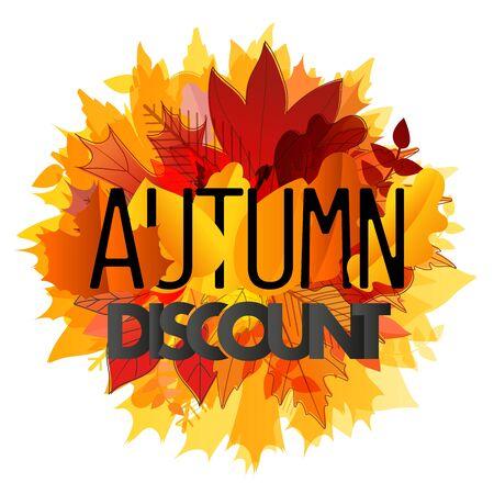 autumn color: Color leaves illustration. Autumn sale vector concept