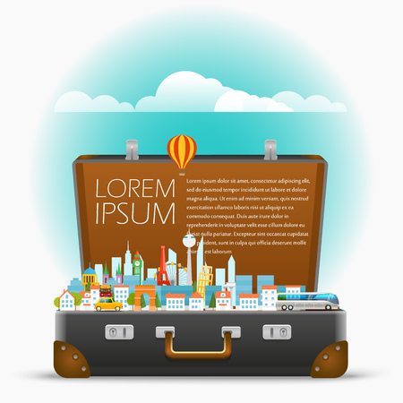 Dirrefent world famous sights. Vector travel illustration. Template for a text