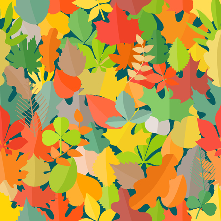 seamless clover: Different color autumn leaves seamless pattern
